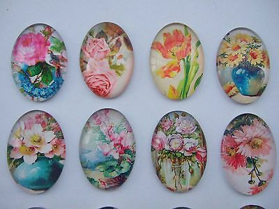 4 x Mixed Colour Vintage Style Flower 25*35mm Oval Cameo Cabochon