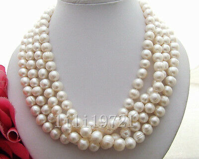 Beautiful 9-10Mm White South Sea Baroque Pearl Necklace 68""