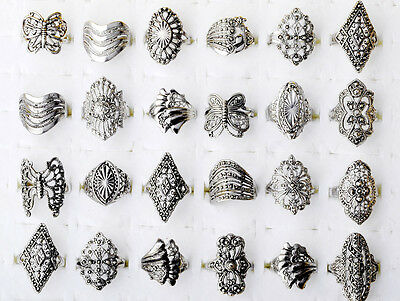 High 20Pcs Wholesale Lots Jewellery Mixed Vintage Hollow Style Silver Tone Rings