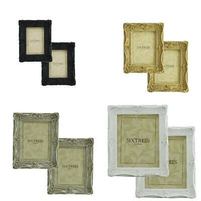 TWINPACK Sixtrees Chelsea Vintage Ornate Shabby Chic Photo Frames 6x4- 10x8 inch