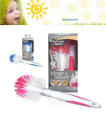 TOMMEE TIPPEE CLOSER TO NATURE BLUE PINK BABY BOTTLE TEAT BRUSH CLEANER Fast Del