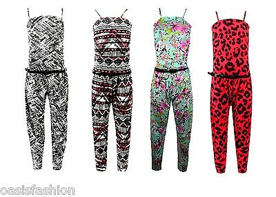 NEW Girls Summer Holiday Abstract Tribal Floral Print Jumpsuit Playsuit  7-13