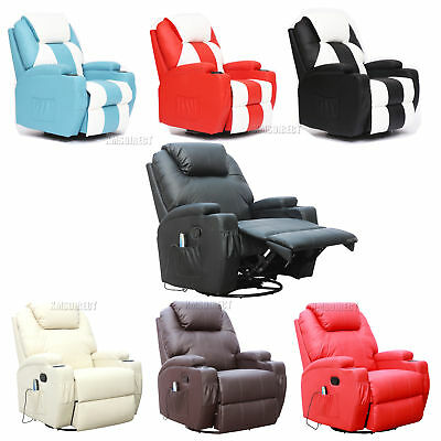 FoxHunter Bonded Leather Massage Recliner Chair Cinema Sofa Armchair Swivel Heat