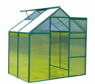 FoxHunter Polycarbonate Greenhouse Aluminium With Base Slide Door Green 4x6FT
