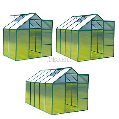 FoxHunter Green Clear Polycarbonate Greenhouse Aluminium Free Base Slide Door