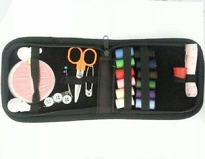 36 pcs set Zipping Travel Sewing Kit  Needles, Thread, Scissors & more - Black