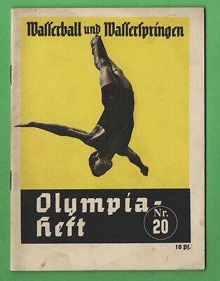 Orig.Guide / Extra PRG   Olympic Games BERLIN 1936 - WATERPOLO + DIVING !! RARE