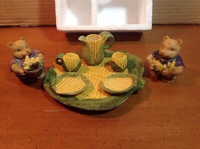 VINTAGE MINIATURE CORN AND MICE TEA SET  1994.  NEW IN PACKAGE.