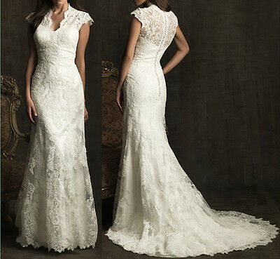 Vintage White Ivory Lace Wedding Dress Bridal Gown Custom Size 4 6 8 10 12 14 16