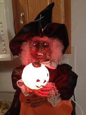 """Telco Vintage Animated Motionette Red Eye Flashing Howling Halloween Witch 27"""""""