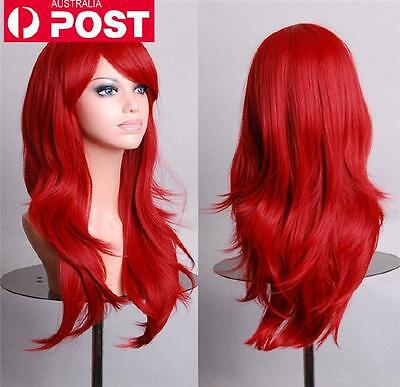 Red Fashion Straight Long Women Heat Resistant Cosplay Party Full Hair Wig