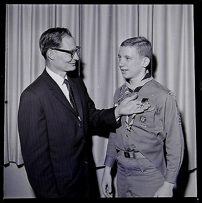 AB1799 Original 1965 2x2 BW Photo Negative Boy Scout God and Country Award