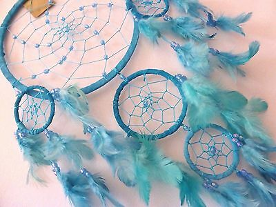 Pearl Like Beaded Soft Leather Large 60 Cm Tot Drop Dream Catcher Ritual Pagan