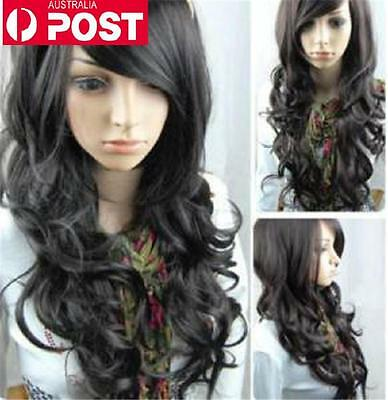 Black Pretty Wavy Curly Long Women Heat Daily Cosplay Party Full Hair Wig
