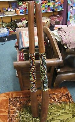 1 x 130 cm Wooden Didgeridoo Aboriginal Native Style Dot Painting Hand Crafted