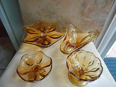 Colectable Assortment of Vintage Amber Glass Serving Dishes 4 Pieces