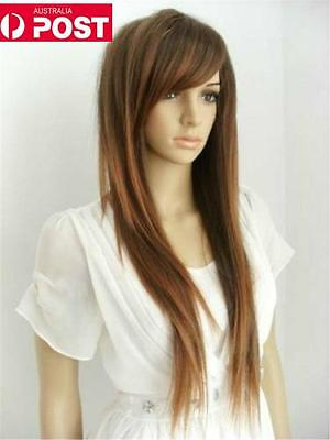 Brown Mix Sexy Straight Long Women Heat Daily Cosplay Party Full Hair Wig