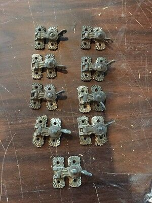 Nine Pair Of Brass Antique Window Locks Very Fancy