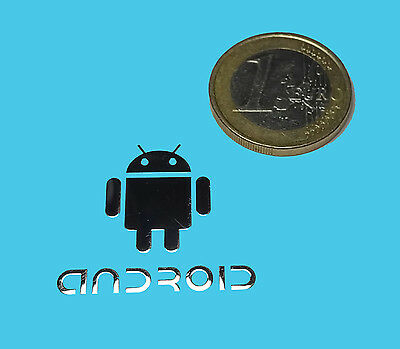 ANDROID METALISSED CHROME EFFECT STICKER LOGO AUFKLEBER 28x25mm [016]