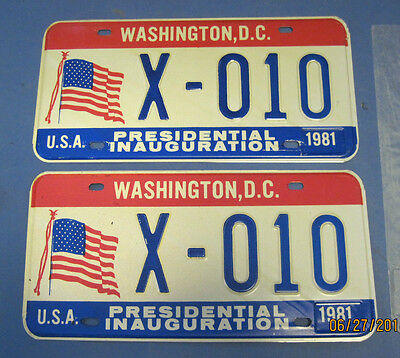 1981 DC License Inaugural plates matched pair excellent conditon
