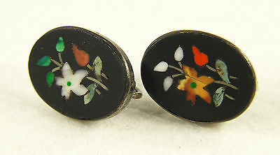 Antique Italian Pietra Dura Sterling Silver Screwback Earrings