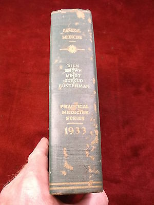 """Old Vtg Antique Book """"the 1933 Yearbook Of General Medicine"""" A Very Solid Book"""