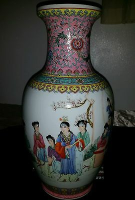 "Large Antique Hand Painted Famille Rose Vase Chinese Hand Painted 14""x7inch"