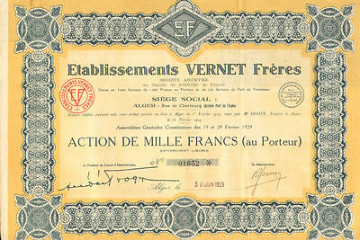 Etablissements Vernet Freres > Cherbourg France 1929 stock certificate