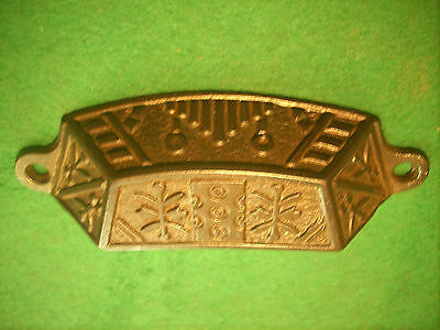 Vintage Windsor Eastlake Drawer / Bin Pull - Cast Steel, Brass Wash    (#3298-B)