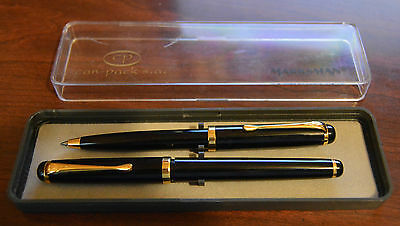 Vintage Marksman Black & Gold Fountain Pen & Ballpoint Pen Set in Box