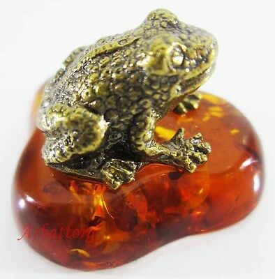 Bronze Brass Figurine Statuette Russian Frog, Toad Baltic Amber # 90