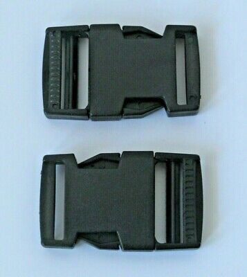 Pack 2 x 25mm Side Squeeze Quick Release Buckle Clips