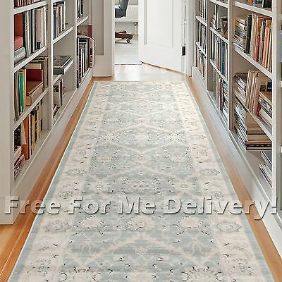 WISDOM BLUE GREY FLORAL TRADITIONAL FLOOR RUNNER 80x500cm **FREE DELIVERY**