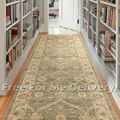 WISDOM GREEN CREAM FLORAL TRADITIONAL HALL RUNNER 80x500cm **FREE DELIVERY**