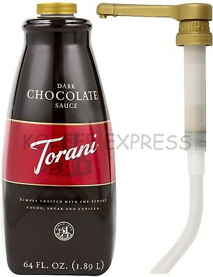 TORANI DARK CHOCOLATE  SAUCE, 1 bottle (64 oz) - Free Pump Included