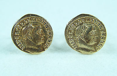 14K Solid Gold Ancient Greek Emperor Cufflinks Vintage