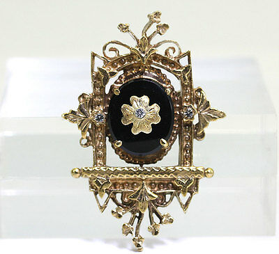 Antique onyx pin brooch pendant 14K yellow gold detailed ornate 3.05CT CZ 11 gm