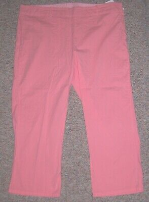 "FRESH PRODUCE Coral Pink Side-Zipper Cropped Capri Pants Inseam 25"" XXL XX-Large"