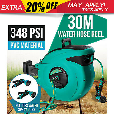 30M Retractable Water Hose Reel Auto Rewind Wall Mount Garden Tool + 2 Spray Gun