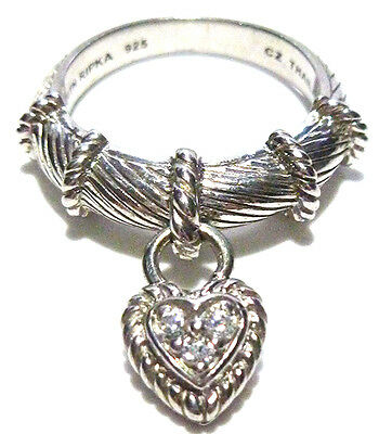 New Judith Ripka Stackable Sterling Silver Cz Encrusted Heart Charm Ring Band
