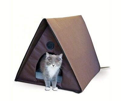 K&H Pet Products Outdoor Heated Kitty A-Frame, 40 watts, Multiple Cat Capacity