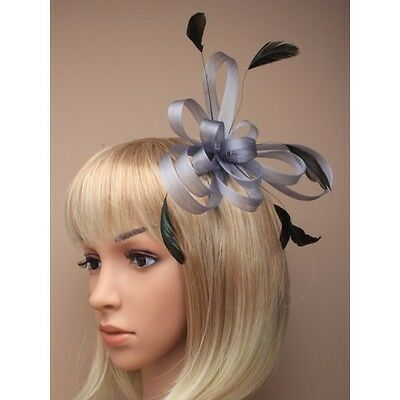 Grey Metal Silver Colour Coiled Net & Feather Fascinator on a comb Wedding Races