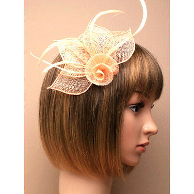 Light Peach Nude Hessian Flower with Feather, Petals Fascinator Hair clip Brooch
