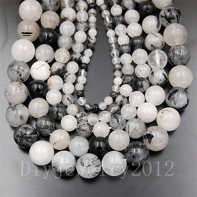 Natural Gemstone Black Tourmaline Quartz 6mm 8mm 10mm Round Loose Beads 15.5""