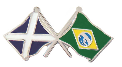 Brazil Flag & Scotland Flag Friendship Courtesy Pin Badge - T545