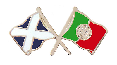 Portugal Flag & Scotland Flag Friendship Courtesy Pin Badge - T974