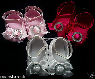 White Hot Pink Bling Diamante Christening Wedding Party Shoes 0-12m Baby Girls