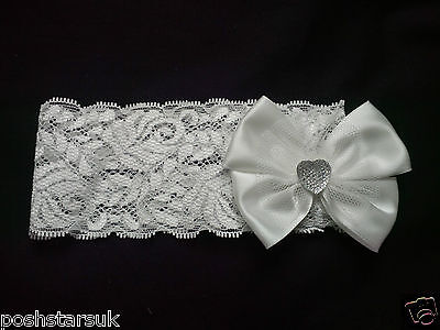 Baby Girls Ivory Cream Lace Headband Heart Bling Sparkle Christening Wedding BNT
