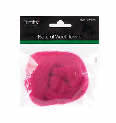TRIMITS Natural 100% Wool Roving For Needle Felting 10g - BRIGHT PINK