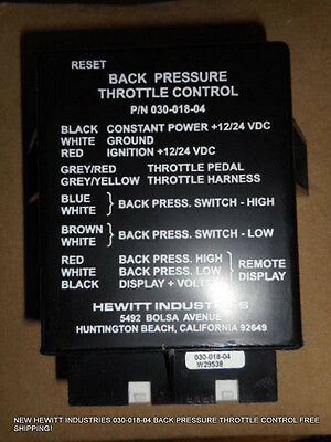 New Hewitt Industries 030-018-04 Back Pressure Throttle Control Free Shipping!